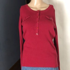 Maroon Scoop Neck Half Button Sweater Size M